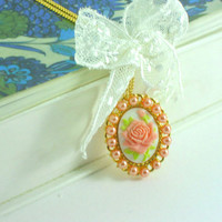 Resin cabochon: Rose cameo pendant with white lace and salmon  glass pearls