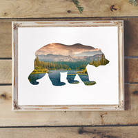Bear Silhouette with Lake & Forest Trees Printable Wall Art Woodland Nursery Rustic Decor Kid's Room Printable Office Print Instant Download