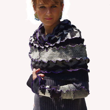 Upcycled, Recycled, Sweater, Hoodie, Black, White and Gray
