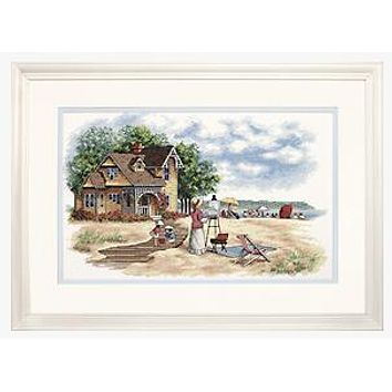 Top Quality Lovely Cute Counted Cross Stitch Kit Seaside Retreat Painter Artist and Wooden House dim 35177
