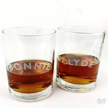Bonnie and Clyde Cocktail Glass Set