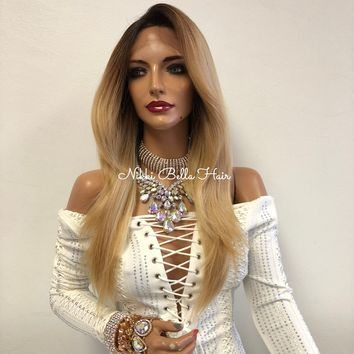 Blond Ombré Swiss Front Lace Wig | Long Soft Layered Hair | Telli  1018 12