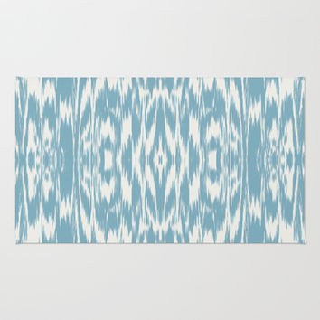 Ikat: Light Blue Ivory Area & Throw Rug by Eileen Paulino
