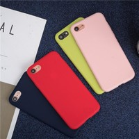 Candy Color TPU Rubber Silicone Case red for iPhone 7 7Plus 8 8plus 6 6S Plus X 5s SE Matte Frosted Soft Cover Protection Case