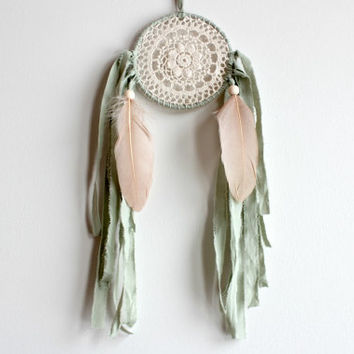 Dream Catcher, Green Dreamcatcher, Blush Decor, Woodland Nursery, Dreamcatchers, Sage Wedding Decor, Rustic Wedding Decor, Bohemian Decor,