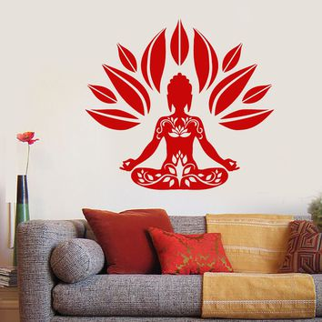 Vinyl Wall Decal Buddhism Yoga Buddha Lotus Pose Flower Stickers Unique Gift (1672ig)