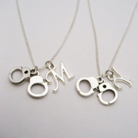 Handcuff Necklace Set Initials Necklace Customized  Best Friends Gifts Handcuff Jewelry Matching Necklaces Gifts Under 30 Letter Necklace