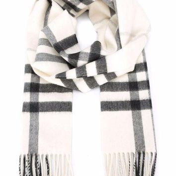 BURBERRY Woman's Men's Natural White Heritage Check 100% Cashmere Scarf