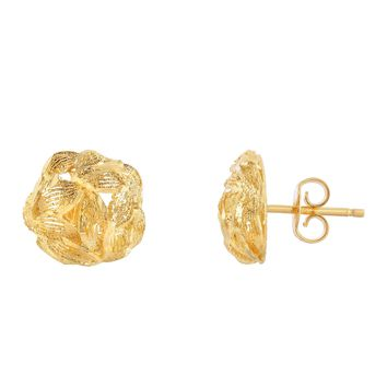 14K Yellow Gold 10mm Sand+Diamond Cut Leaf Patterned Round Button Post Earring with Push Back Clasp