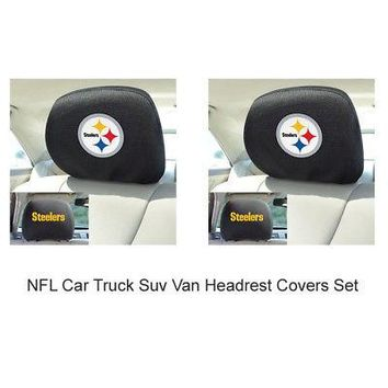 Licensed Official New 2pc NFL Pittsburgh Steelers Car Truck SUV Headrest Covers Automotive Gear
