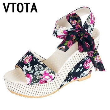 VTOTA Sandals Women 2017 Summer Shoes Woman Wedges Bowknot Platform Sandals Woman High-Heeled Mujer Flowers  Sandals Woman X294