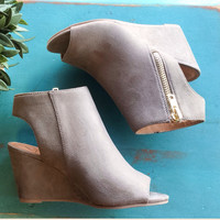 Smokey Wedge Open-Toe Booties