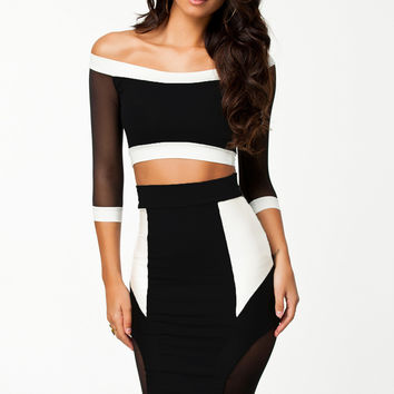 Party Focus Mesh Splicing Pencil Straight Midi Skirt Set LAVELIQ