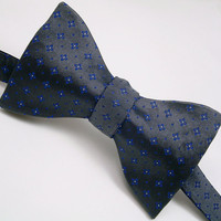 Pewter Gray Bow Tie Freestyle & Adjustable  by VaVaSilkBowTies