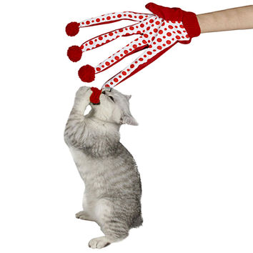Lovely Ball Polka Dot Cat Toy Scratch Glove