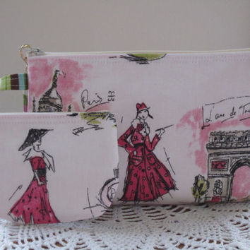 Iphone Smart phone Case Gadget Pouch Clutch Wristlet Zipper Gadget Pouch Set Tres Chic Shabby Antiquebasketlady