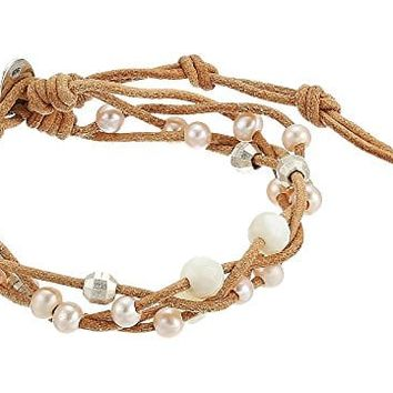 Chan Luu Pink Pearl and Leather Bracelet