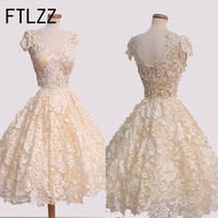 2017 Sexy Lace Slim vintage white bodycon Dress Women Wedding evening Party Dresses Bubble Dress Wedding Party Dress short