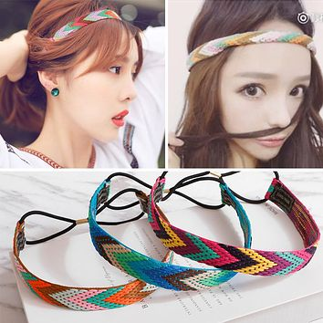 MISM Ethnic Boho Embroidery Headbands For Girls Women Vintage Hair Accessories Braid Elastic Hair Band Bohemian Rubber Head Band