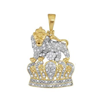 10kt Yellow Gold Mens Round Diamond Lion Tiger Crown Charm Pendant 1-3 Cttw