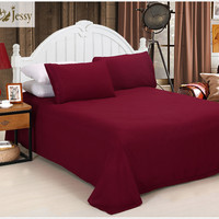 Bed Sheet Set 1800 Series 4 Piece Bedding Set solid color with embroidery Flat sheet fitted sheet pillowcase queen king