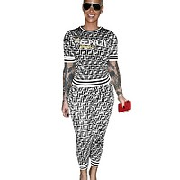 Fendi Fashion New More F Letter Top And Pants Sports Leisure Two Piece Suit White