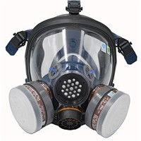 Full Face Respirator by Parcil Distribution. Double Air filter, Visor Protection, Gas Mask - Industrial Grade Quality - Pure SAFE Breathing for toxic environments