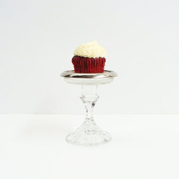 Pair Vintage Silver Plate Upcycled Coaster Cupcake, Tartlet Stands