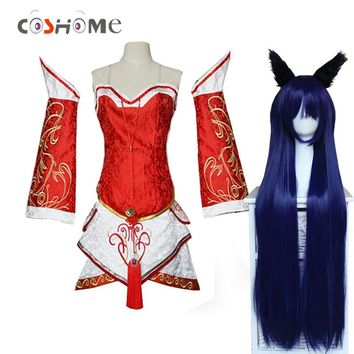 Coshome LOL Ahri Cosplay Costumes The Nine-Tailed Fox Red Dress Women Adults Tops Skirts Wigs Set