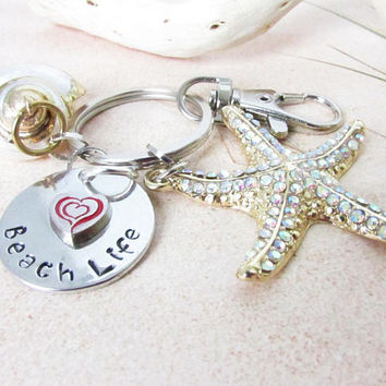 Beach Life Keychain, Hand Stamped Gift, Beach Shell Keychain, Car Accessories, Gold Starfish Keychain, Valentine's Day Gift for Her
