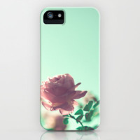 Pink Roses on Mint Sky  iPhone & iPod Case by Andrea Caroline