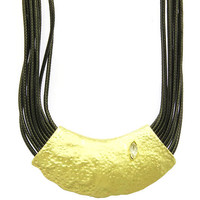 NECKLACE / MULTI STRAND / BIB / METAL PLATE / HAMMERED METAL / MATTE FINISH / HOMAICA BEAD / MULTI CORD / 18 INCH LONG / 2 3/4 INCH DROP / NICKEL AND LEAD COMPLIANT