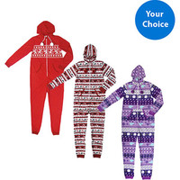 Walmart: No Boundaries Juniors Hooded Holiday One Piece PJ
