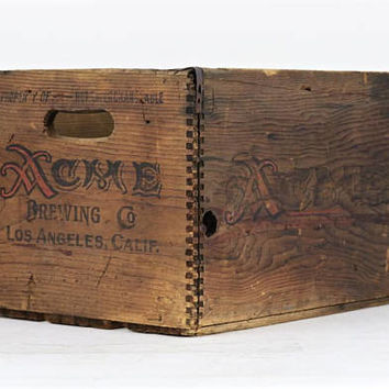 Vintage Acme Beer Crate, Acme Beer Crate, Vintage Beer Crate, Acme Brewing Company Los Angeles California, Acme Wood Beer Crate, Wood Crate