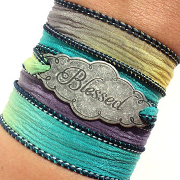 Blessed, Silk Wrap Bracelet, Yoga, Jewelry, Bohemian, Bless, Charm Bracelet, Bliss, Unique, Gift For Her Christmas, Stocking