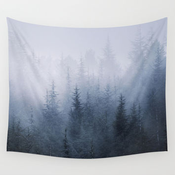 Misty fantasy forest. Wall Tapestry by Guido Montañés