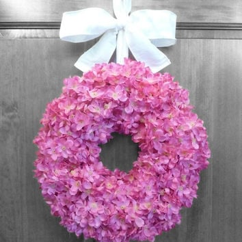 CHRISTMAS IN JULY Summer Hydrangea Wreath - Pink Hydrangeas - Floral Wreaths - Front Door Decorations