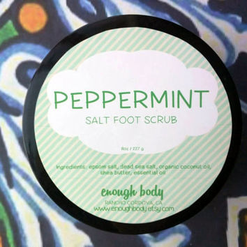 Peppermint Salt Foot Scrub ~ Cooling Salt Scrub ~ Exfoliating Scrub ~ Foot Polish