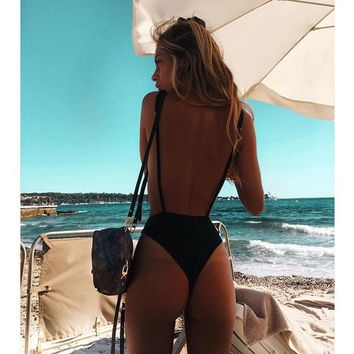 Swimwear Solid One Piece Thong Swimsuit Bandage Bathing Suit Women Summer Beach Wear Monokini Halter Bodysuit Swimsuit