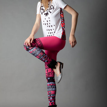 Pink Tribe leggings by QooQooFashion on Etsy