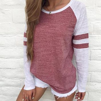 Striped Long Sleeve Patchwork Casual T-Shirt