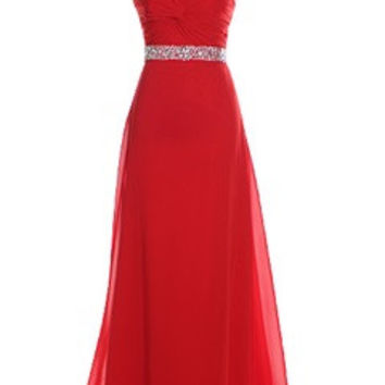 Ruching Twisted Sweetheart Neck Beading Belt Evening Dress