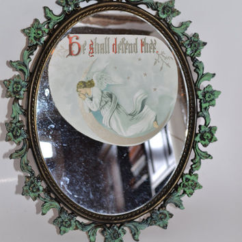 Ornate Vintage Black Mirror vanity tray green chalk paint distressed vintage angel
