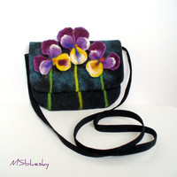 Wet Felted Pensy FLOWER  Clutch Purse  violets by MSbluesky