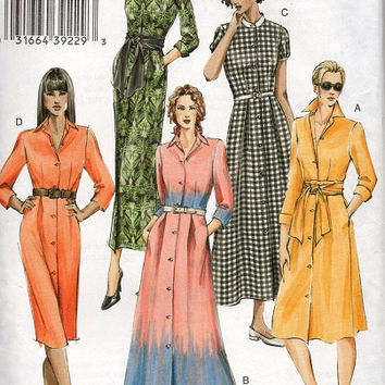 Vogue Basic Design Sewing Pattern Maxi Midi Button Front Dress Long Short Sleeves Pointed Band Standing Collar Casual Gown Bust 34