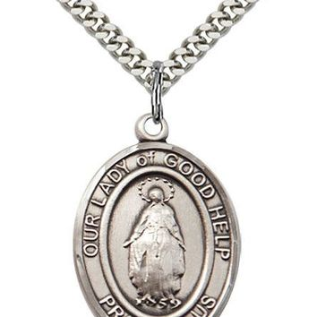 925 Sterling Silver Our Lady Good Help Virgin Mary Medal Necklace Pendant 617759607055