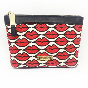 Red Lips Canvas Small Cosmetic Bag