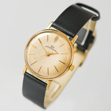 Vintage men watch very slim, gold plated men watch classic, sleek watch Ray, delicate watch unisex, watch for men, new premium leather strap