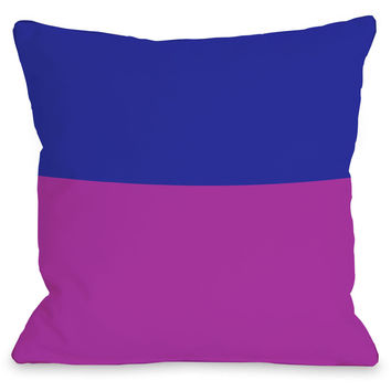 """Two Tone"" Indoor Throw Pillow by OneBellaCasa, Fuchsia/Blue, 16""x16"""