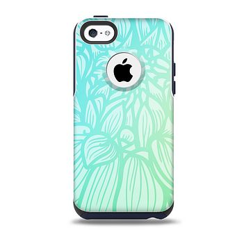 The Faded Blue & Green Subtle Floral Skin for the iPhone 5c OtterBox Commuter Case